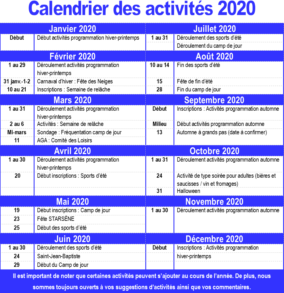 Calendrier des activités du comité des loisirs pour 2020 (Auteur : Audrey Réhel)